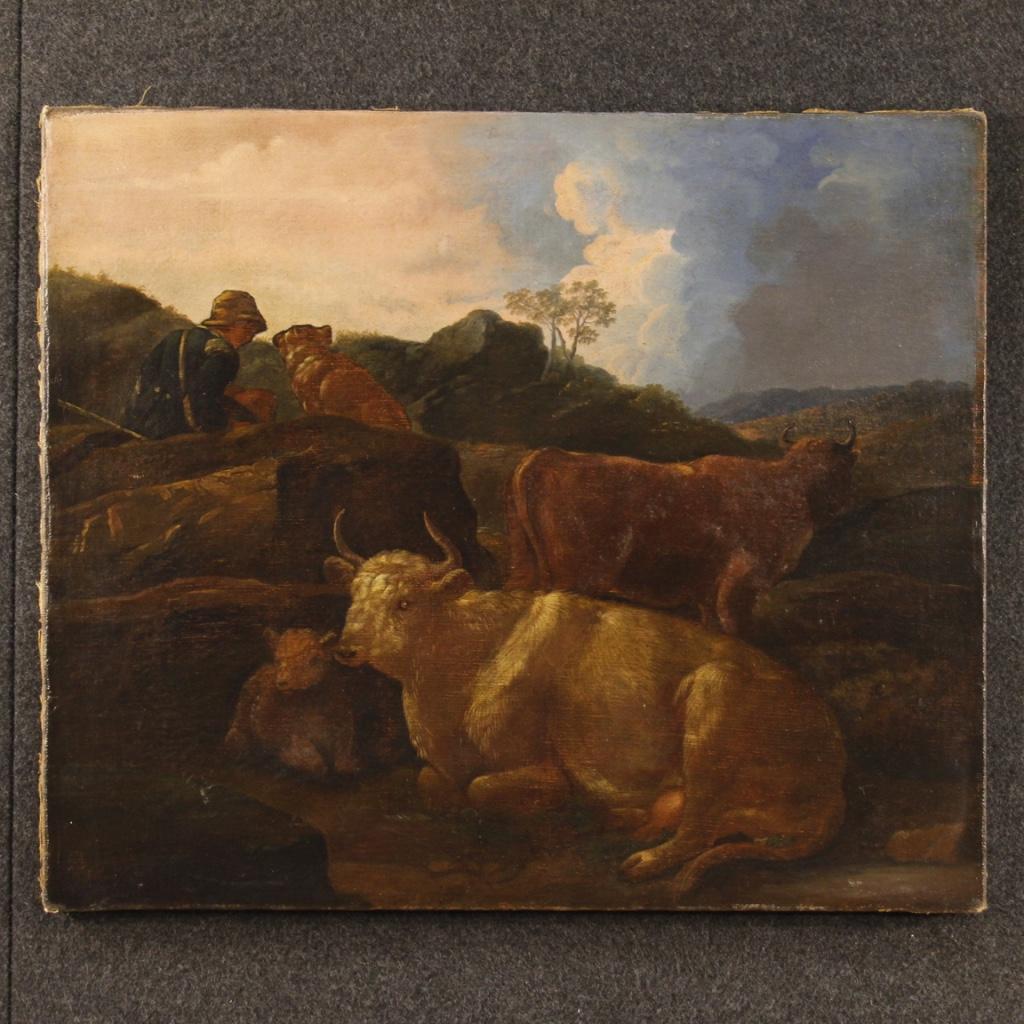 Antico dipinto italiano paesaggio olio su tela del XIX secolo