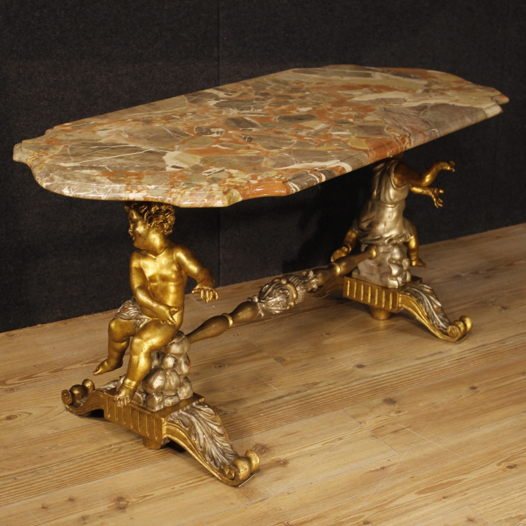 Italian Marble Coffee Table Top: Italian Coffee Table With Marble Top And Little Angels