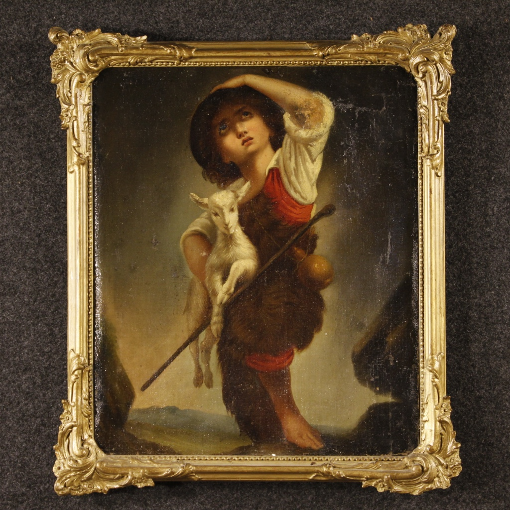 Antique French Painting Shepherd Boy With Goat Of The 19th