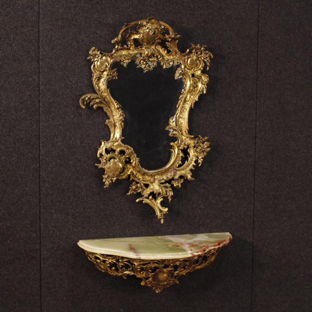 Console italiana in bronzo con specchiera dorata