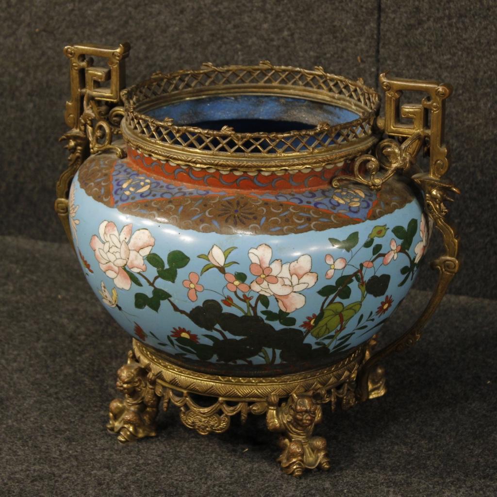 Antico vaso francese cloisonné in bronzo dorato del XIX secolo