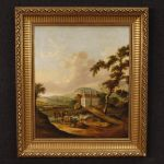 Antique Dutch landscape painting oil on canvas from 19th century