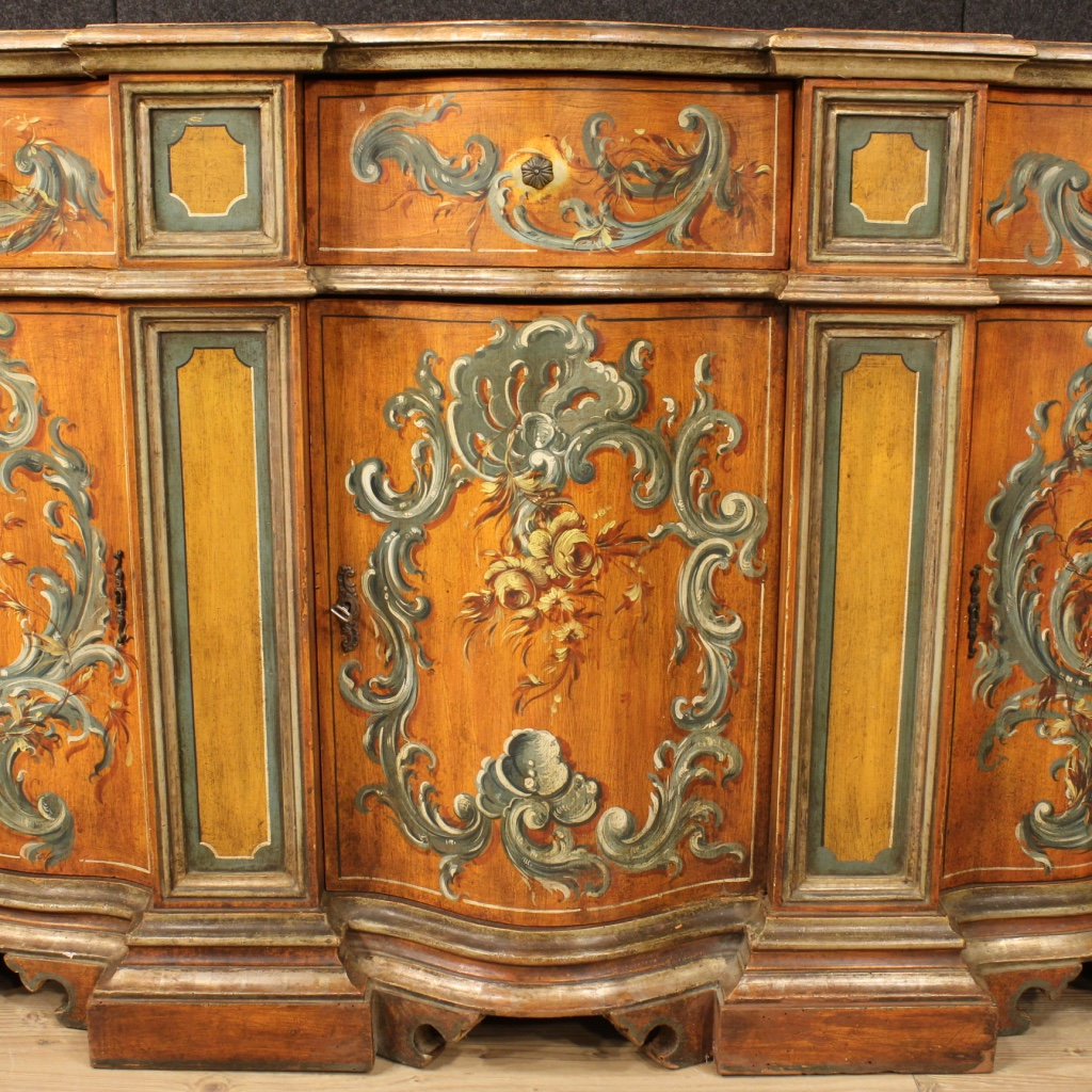 Credenza venetian lacquered mobile 3 door wood painted antique style 900 ebay - Mobile credenza ...