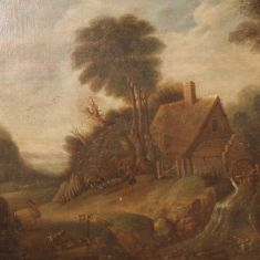 Quadro olio su tela antico con personaggi e animali epoca 800