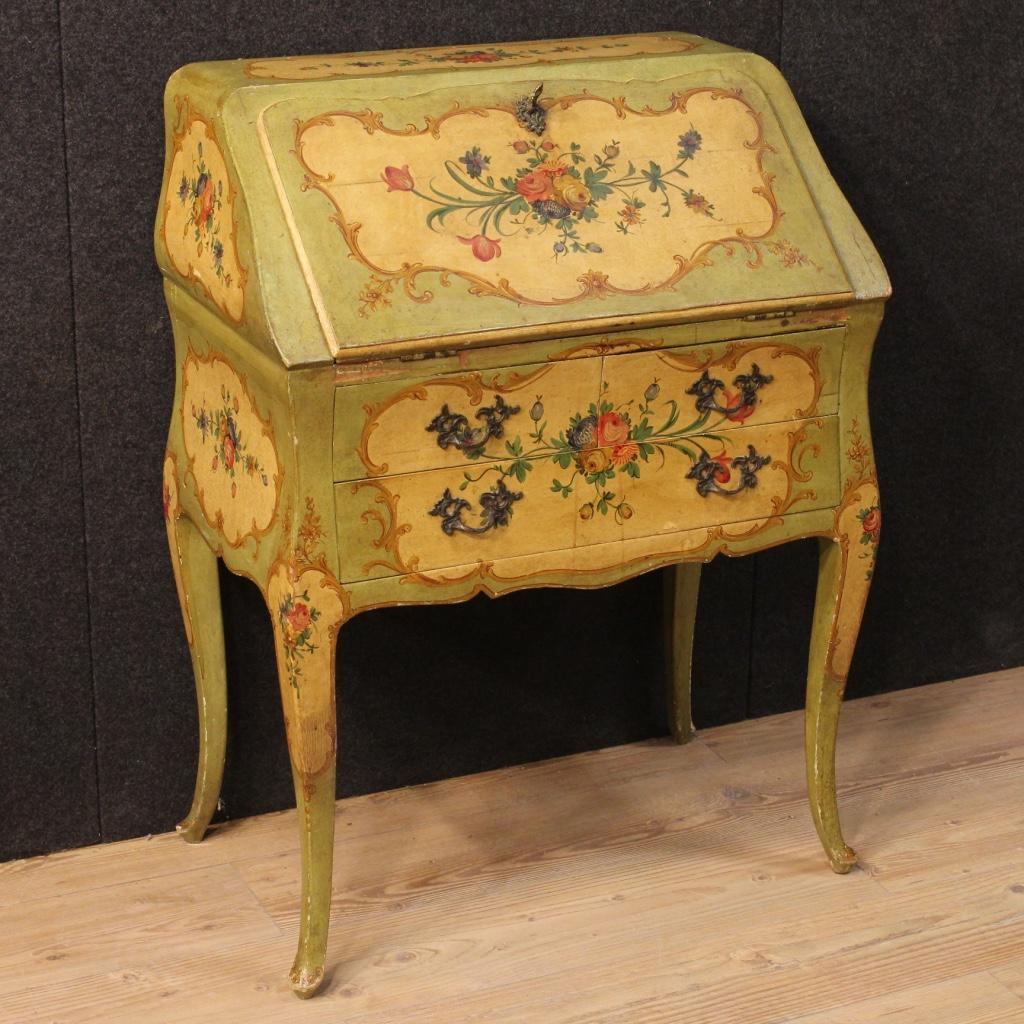 Ribalta veneziana in legno laccato e dipinto con decori - Decori in legno per mobili ...