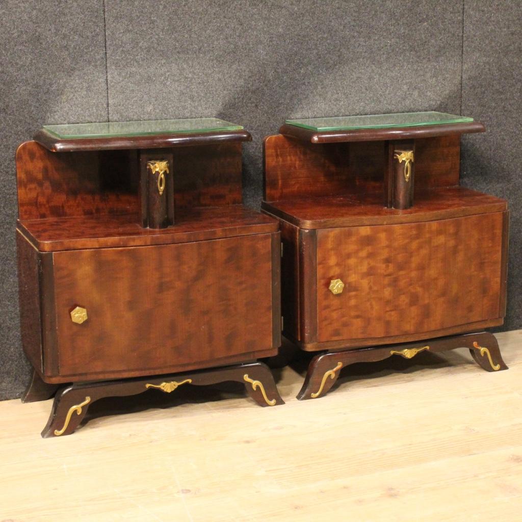 Pair Bedside Tables Art Deco Low Desk Mirror Brass Antique Style