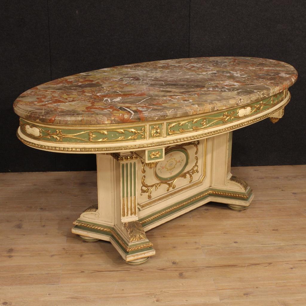 Annuncio grande tavolo italiano laccato e dorato con - Tavolo piano marmo ...