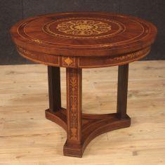 Tavolo rotondo da salotto stile antico in legno 900