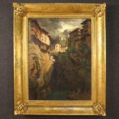 Quadro olio su tela con cornice paesaggio epoca 800