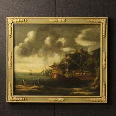 Quadro olio su tela paesaggio marino con personaggi epoca '700