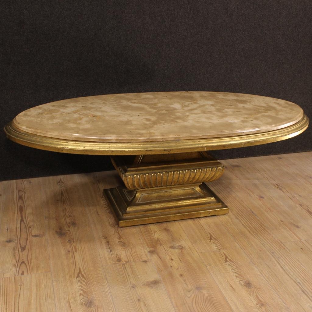 Tavolino tavolo basso salotto legno dorato piano marmo for Tavolo legno piano marmo