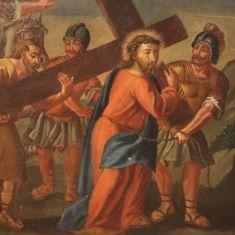 Quadro olio su tela con cornice epoca 700 arte sacra