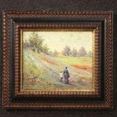 Quadro olio su tavoletta con cornice stile antico impressionista 900