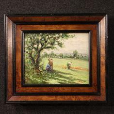 Quadro olio su tavoletta stile antico impressionista epoca 900