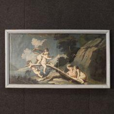 Quadro olio su tela con cornice dipinta epoca '700