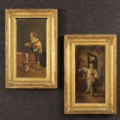 Quadri olio su tavola con cornici coeve dorate in legno e gesso epoca '800