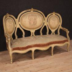 Mobile sofa salotto in legno e tessuto epoca 800
