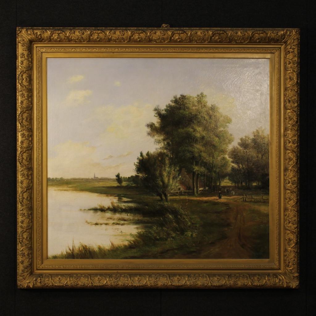 Antigua pintura pintado fiammingo paisaje óleo sobre lienzo firmado ...