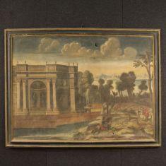 Grande quadro olio su tela con scene di caccia e cornice dipinta epoca '700