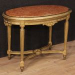 Italian gilt side table with marble top in Louis XVI style