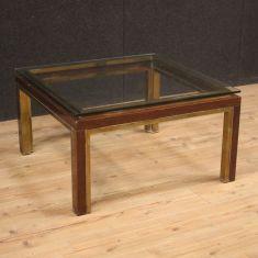 Tavolo basso da salotto vintage con piano in vetro