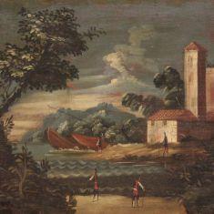 Quadro olio su tela paesaggio epoca 700