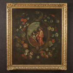 Quadro olio su tela natura morta fiori epoca 700
