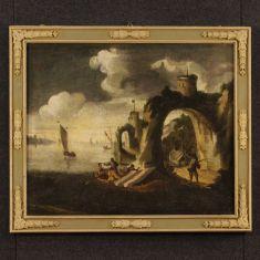 Quadro olio su tela con cornice laccata epoca '700