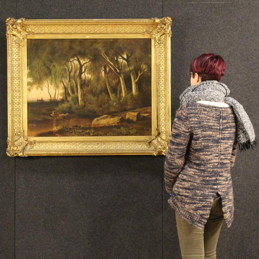 Annuncio dipinto francese paesaggio boschivo del xix for Piani di fattoria del 19 secolo