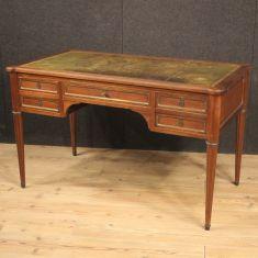 Scrivania mobile tavolo con piano in pelle stile antico 900