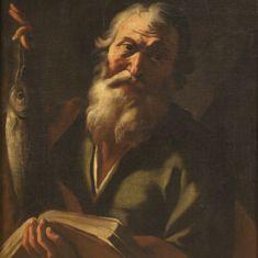 Dipinto olio su tela santo arte sacra con cornice epoca 700