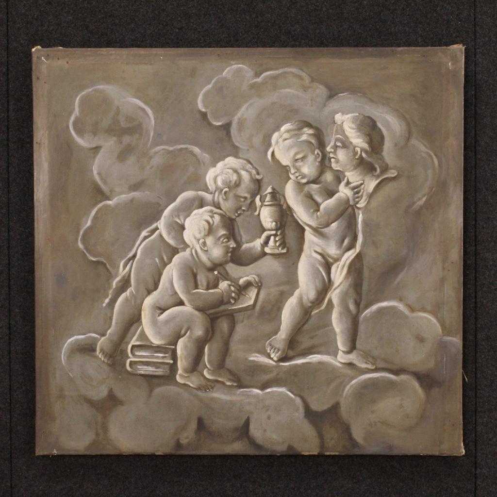"""Dipinto francese """"Allegoria della scultura con putti"""" XIX secolo"""