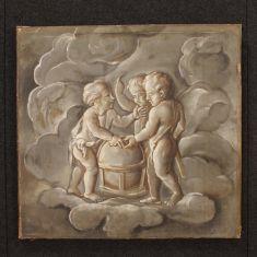 Quadro grisaille olio su tela epoca '800