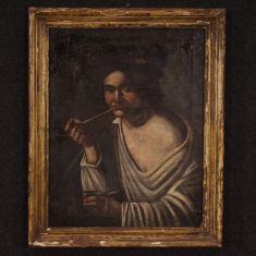Quadro olio su tela con cornice epoca 800