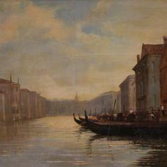 Quadro con cornice dipinto firmato paesaggio canale olio su tela stile antico epoca 900