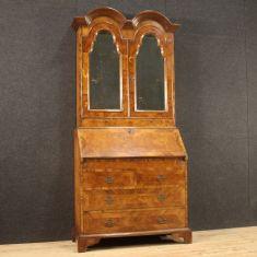 Mobile credenza doppio corpo ribalta in legno comò scrittoio epoca 900