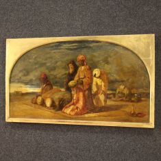 Quadro olio su tela dipinto inglese con cornice epoca 800
