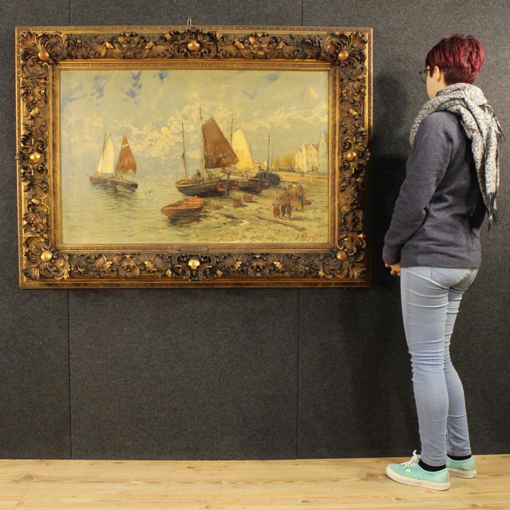 Grande dipinto olandese marina del xix secolo for Piani di fattoria del 19 secolo