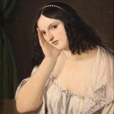 Dipinto fanciulla quadro olio su tela donna con cornice epoca 800