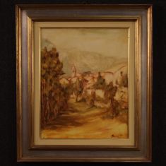 Quadro olio su tela con cornice stile antico impressionista 900
