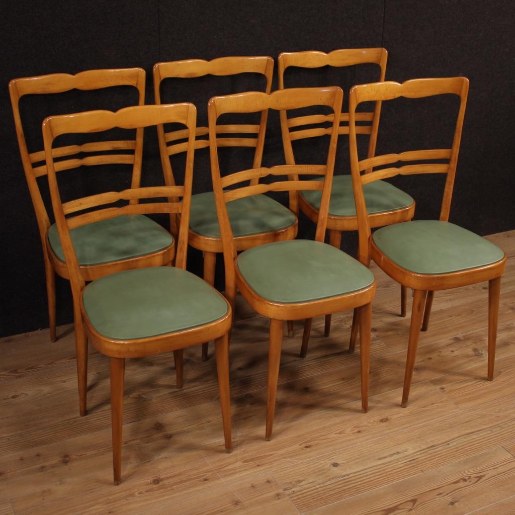 Sei sedie italiane di design in legno esotico e finta pelle