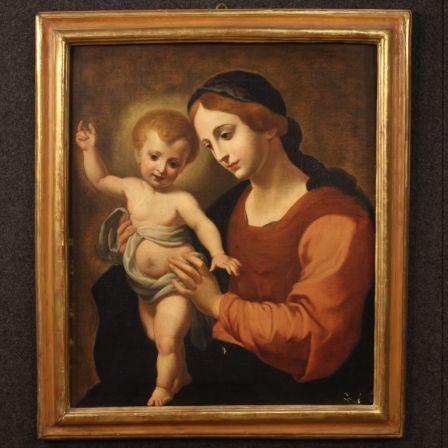 ancien tableau italien vierge a l enfant du 19eme siecle