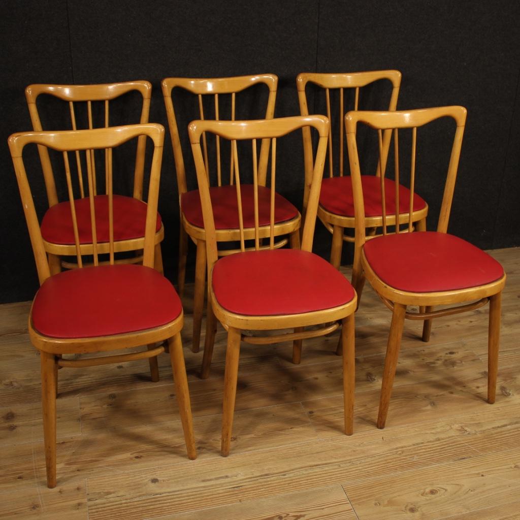 Sedie italiane di design in legno esotico e finta pelle