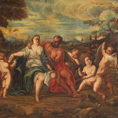 Quadro paesaggio putti olio su tela con cornice epoca 700