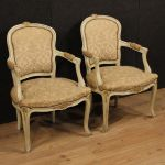 Pair of lacquered and gilded Italian armchairs with damask fabric