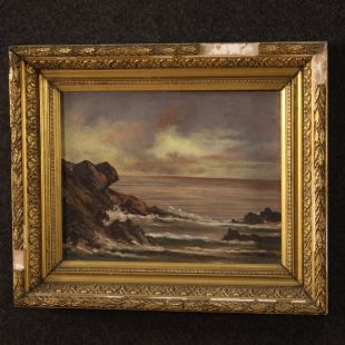 French painting seascape with cliff