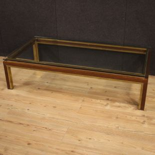 Italian design coffee table in metal, brass, burl and glass
