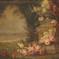 Dipinto natura morta quadro olio su tela con cornice epoca 900