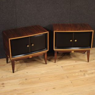 Pair of Italian design bedside tables in wood