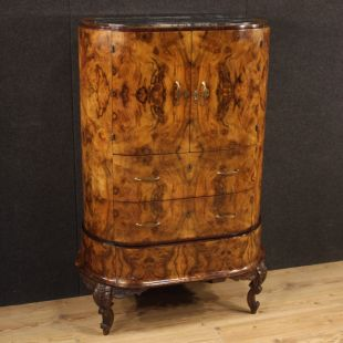 Italian secrétaire in walnut, burl, palisander and fruitwood